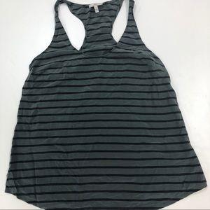 Joie Striped Gray & Black Silk Pocket Tank Top